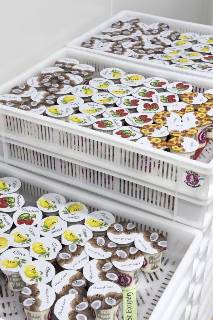 Stockage des yaourts La Vache Charentaise